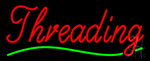 Cursive Red Threading Green Wave Neon Sign