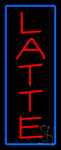 Red Latte with Blue Border Neon Sign