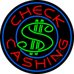 Round Check Cashing Dollar Logo Neon Sign