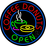 Round Red Coffee Donuts Open Neon Sign