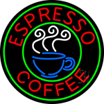 Round Espresso Coffee Neon Sign