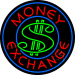 Round Money Exchange Neon Sign