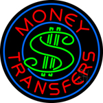 Round Money Transfers Dollar Logo Neon Sign