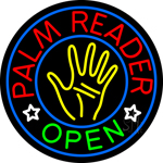 Palm Reader Open Circle Neon Sign
