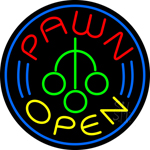 Round Pawn Logo Open Neon Sign