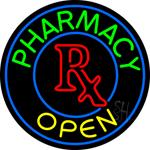 Round Pharmacy Logo Open Neon Sign