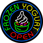 Round Frozen Yogurt Open Neon Sign