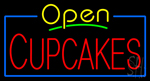 Open Cupcakes with Blue Border Neon Sign