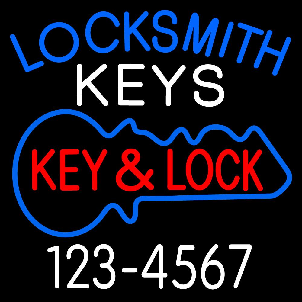 Locksmith Keys And Lock 1 LED Neon Sign