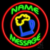 Custom Beer Mug With Circle LED Neon Sign