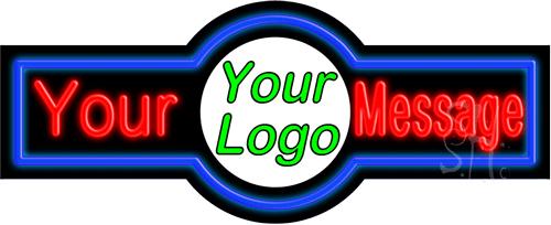 Custom Center Logo Blue Border LED Neon Sign