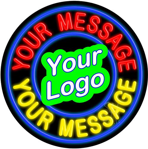 Custom Logo Blue Circle LED Neon Sign