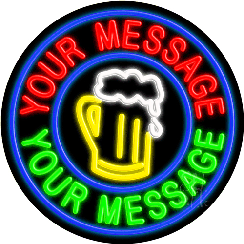 Custom Beer Mug Blue Circle LED Neon Sign