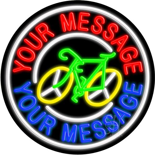 Custom Bicycle White Circle LED Neon Sign