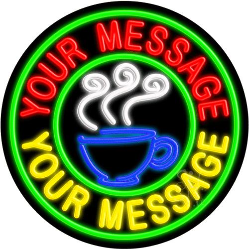 Custom Coffee Cup Logo Circle LED Neon Sign