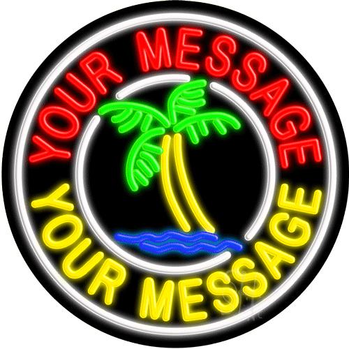 Custom Palm Tree Logo Circle LED Neon Sign