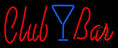 Club Bar With Martini Glass LED Neon Sign