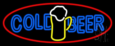 Cold Beer With Mug In Between LED Neon Sign