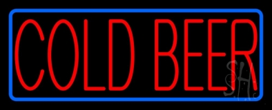 Red Cold Beer With Blue Border LED Neon Sign