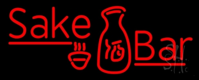 Red Sake Bar With Bottle and Glass LED Neon Sign