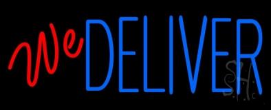Red We Deliver Blue LED Neon Sign