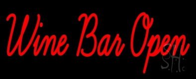Cursive Red Wine Bar Open LED Neon Sign