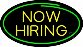 Oval Now Hiring LED Neon Sign