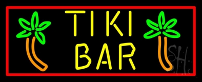 Tike Bar With Two Palm Trees LED Neon Sign