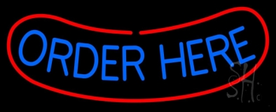 White Order Here With Red Border Bar LED Neon Sign
