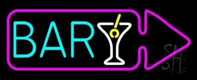 Bar With Wine Glass Arrow LED Neon Sign