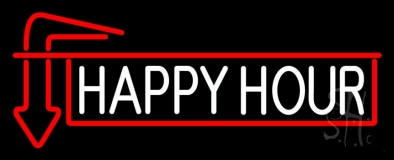 Happy Hour With Arrow LED Neon Sign