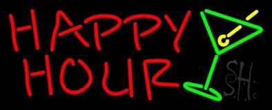 Happy Hour With Martini Glass LED Neon Sign