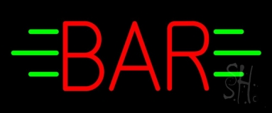 Red Bar With Green Lines LED Neon Sign
