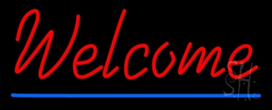Red Welcome With Underline LED Neon Sign