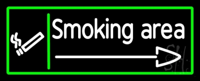 Smoking Area With Arrow LED Neon Sign