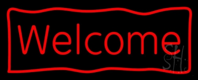 Red Welcome With Outline LED Neon Sign
