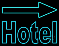 Hotel With Arrow On Top LED Neon Sign