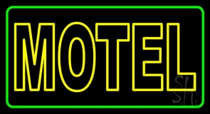 Motel With Green Border LED Neon Sign