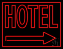 Red Hotel With Arrow LED Neon Sign