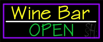 Yellow Wine Bar Green Open LED Neon Sign