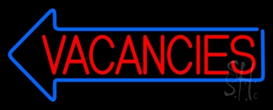 Red Vacancies With Blue Arrow Neon Sign