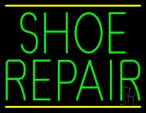 Green Shoe Repair Yellow Lines LED Neon Sign