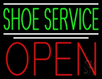 Green Shoe Service Open LED Neon Sign