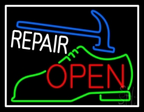 Green Shoe White Repair Open LED Neon Sign