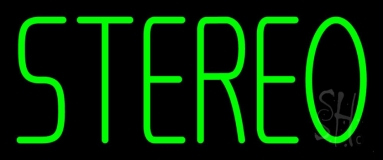 Green Stereo Block 2 LED Neon Sign