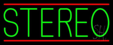 Green Stereo Block Red Line 2 LED Neon Sign