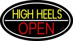 High Heels Open White Border LED Neon Sign