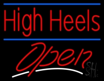 High Heels Open With Blue Line LED Neon Sign