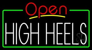 High Heels Open With Green Border LED Neon Sign