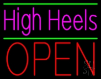 High Heels Open With Green Line LED Neon Sign